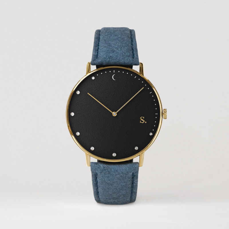 Black watches with blue pineapple strap