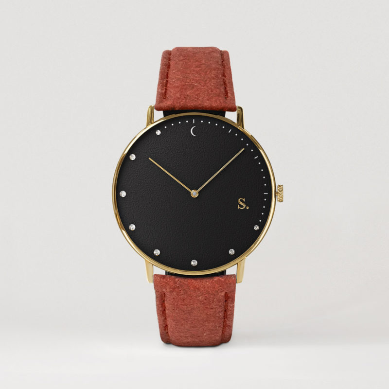Black watches with red pineapple strap