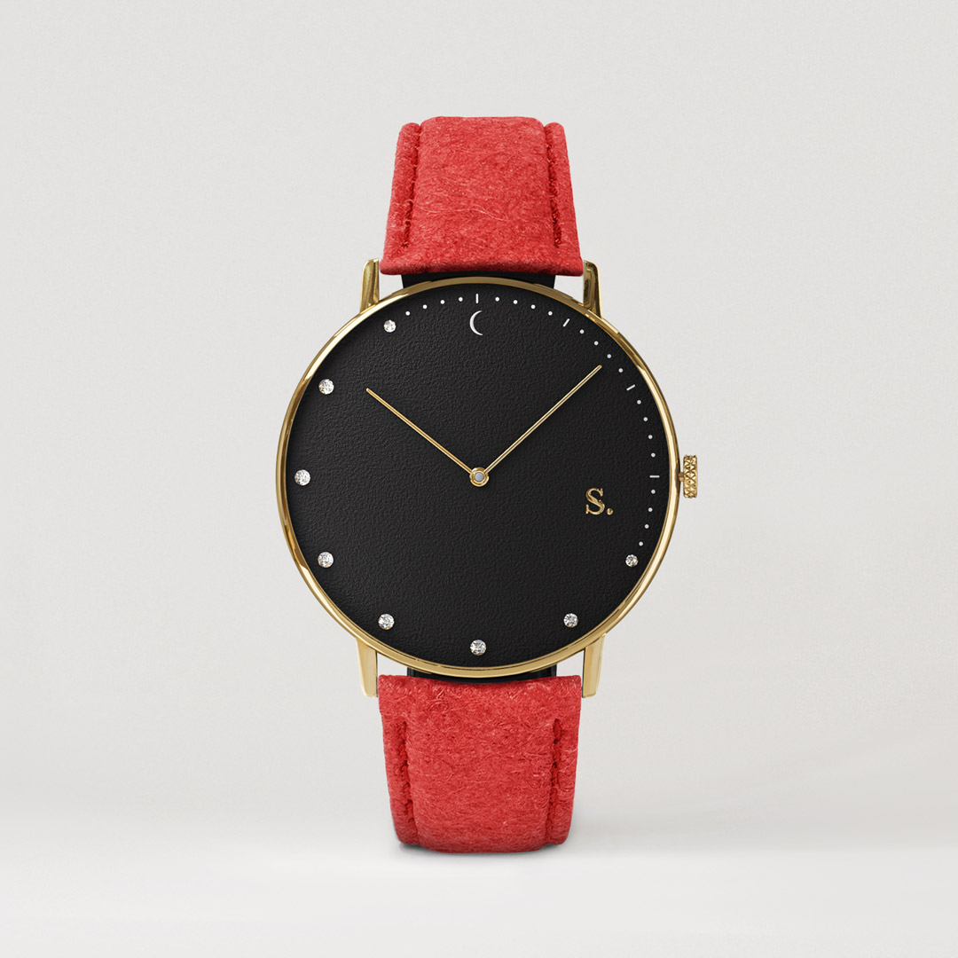 Black watch with red pineapple strap